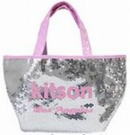セール♪●即納・メール便可●キットソン(kitson)スパンコールミニトートバッグ シルバー×ピンク