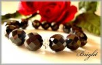 BRIGHT製■超希少!!ブラックスピネル64カット 10mm玉ブレス■水晶オリジナルボタンカット ■16cm■高品質天然石
