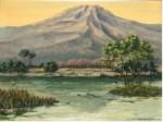 美術名典掲載画家 岡野靖夫 油絵「三島池」F6号