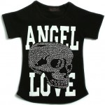【LOVE&A】ストーンスカルでロックに☆クルーネック ラグラン 半袖(黒)