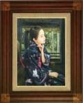 國際美術協会元名誉会員 岡本伊立 油絵「和風美(静羅)」 F10号