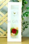 【プリザーブドフラワー】小さな花時計 レッドローズS ホワイト