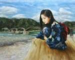 國際美術協会元名誉会員 岡本伊立 油絵「錦帯橋」F15号