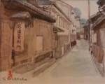 美術名典掲載画家 前原専二 水彩画「鞆の街並み」20.5cm×26cm
