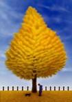 佐藤智美 版画「黄金樹」 41.3cmx29cm