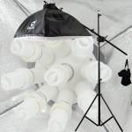 光をコントロールする光量調節付き☆プロ仕様 プロ仕様 9灯ソケット写真撮影照明 三脚撮影ブームスタンド付