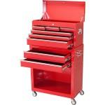 大容量!ベアリングレール式 チェスト&キャビネット 工具箱 ツールボックス【カラー:赤】