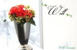 赤いバラとモノトーンの器 プリザーブドフラワー花器アレンジ【Will】