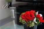 赤いバラとかっこいい器 プリザーブドフラワー花器アレンジ【Rosso】