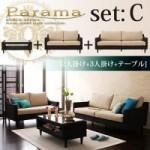 【送料無料】アバカシリーズ【Parama】パラマ セットC:2人掛け+3人掛け+テーブル (40105026)【代引不可】