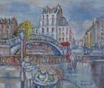 岸本喬夫 油絵「運河ほとり(パリ)」F10号