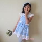 キュートなフリルがかわいい!子供エプロン・エプロンドレスわいい子供エプロンドレス|ギンガムチェックブルー