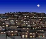 佐藤智美 版画「街の灯」 29.7cmx34.3cm