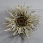 布花コサージュ 大きなヒマワリ (白)