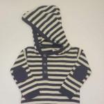 ニット素材のフード付きジャンプスーツ(ストライプ)【Kate quinn organics】