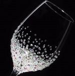 【白ワイングラス バブルシャワー】結婚祝い・誕生日・プレゼント・スワロフスキー・デコグラス