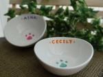 オーダー猫用食器シンプル肉球【名入れ】選べるカラー