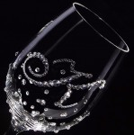 白ワイングラス イニシャル×ドット クリスタル