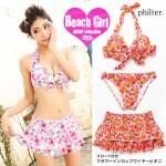 ◆philter!3点SET☆スカート付♪花柄インカップビキニ/水着◆