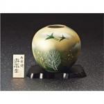 九谷焼◇5.5号花瓶 オリベ金箔木立連山☆131012