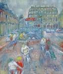 岸本喬夫 油絵「ホテル・ルーブル前」F10号