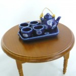 ミニチュア陶器セット 和風角盆 藍染花紋