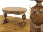 ブルボーズレッグドローリーフテーブル・イギリス1910年頃オーク材・アンティークフレックス