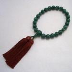 男性用高級数珠◆印度翡翠(アベンチュリン)22玉◆正絹頭房