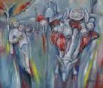 岸本喬夫 油絵「スペインの壺売り」F10号