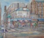 美術年鑑掲載画家 岸本喬夫 油絵「広告筒のあるパリの街角」 F10号
