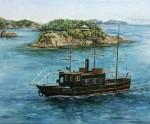 岡本伊立 油絵「いろは丸と鞆の島々」 F8号