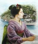 岡本伊立 油絵「ふる里からの便り」 F10号