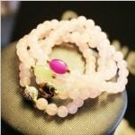 ピンク水晶・スイート・高質感・多層・ブレスレット