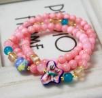 蝶結び・水晶・高質感・ブレスレット【深いピンク】