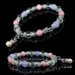 水晶・真珠パールチャーム天然石ブレスレット【ピンクオパール 真珠】
