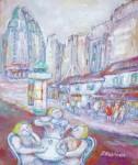 岸本喬夫 油絵 サクレクールを望む「パリ」 F10号