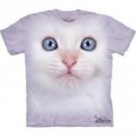 ビッグフェイス プリントTシャツ White Kitten(ネコ)