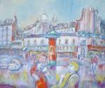 岸本喬夫 油絵「パリの昼下がリ」 F10号