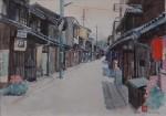 美術名典掲載画家 前原専二 水彩画「赤ちょうちん(鞆の町並み)」 38cm×45.5cm