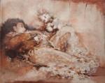 小川克美 油絵「花のささやき」(夢)F15号
