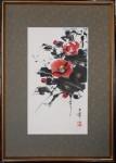 小川克美 水墨画「椿」21cm×36cm