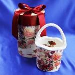 ★薔薇柄のロングバスケット★プレゼントBOX入り★赤い薔薇の花束柄★