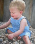 出産・還暦祝いに 似顔絵ウェルカムボードに 本格細密油彩肖像画制作 179×139mm